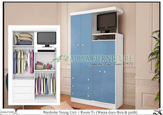 Lemari model minimalis tv biru Young