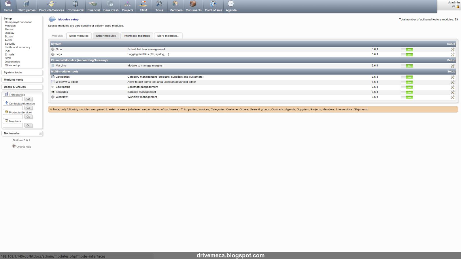 DriveMeca instalando Dolibarr ERP/CRM en un servidor Linux Centos 7 paso a paso