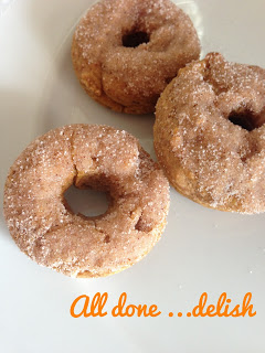 Breakfast Baked Pumpkin Donuts from Handmade by Hilani - via Setting for Four