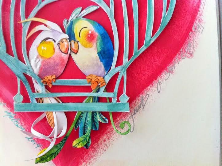 love birds illustration summer wedding