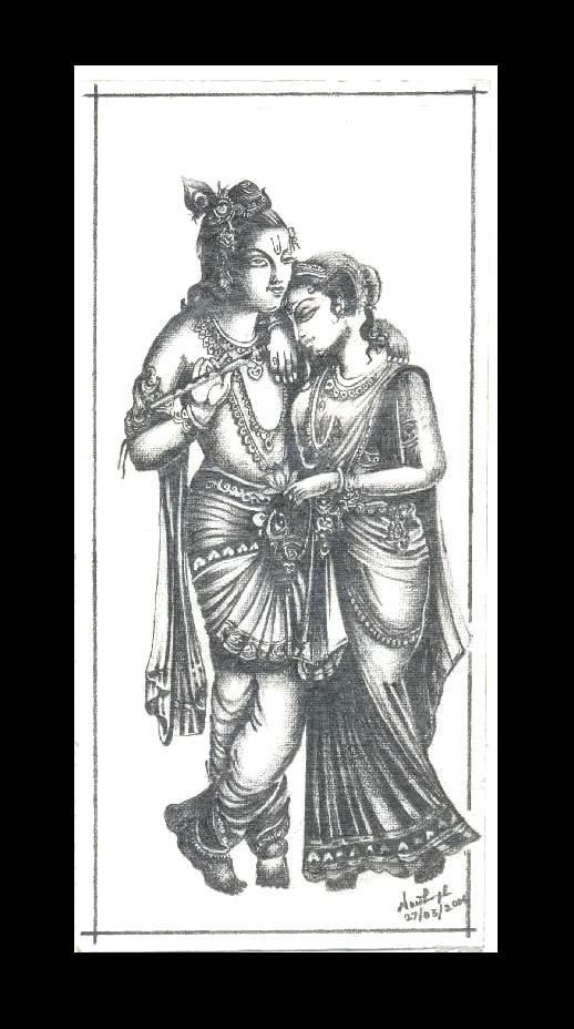 Radha and krishna pencil sketch