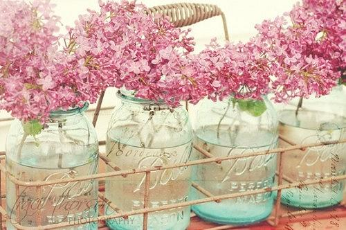 Mason Jars with Pink Flowers