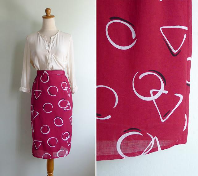 vintage 1980's maroon geometric print skirt