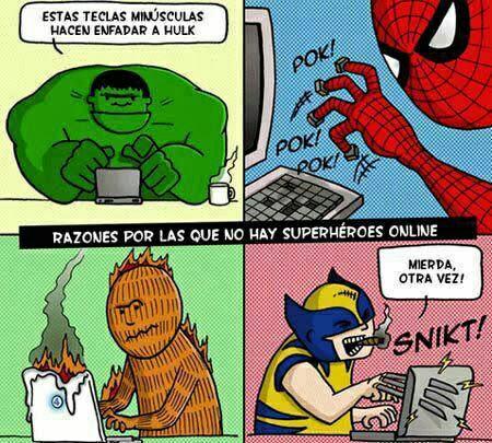 Los superhéroes y sus problemas en Internet