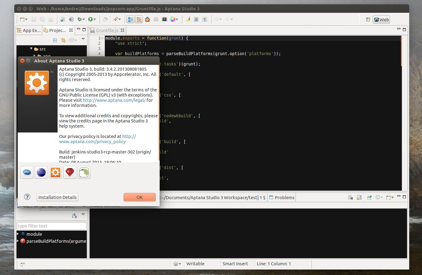 Aptana Studio 3 Ubuntu
