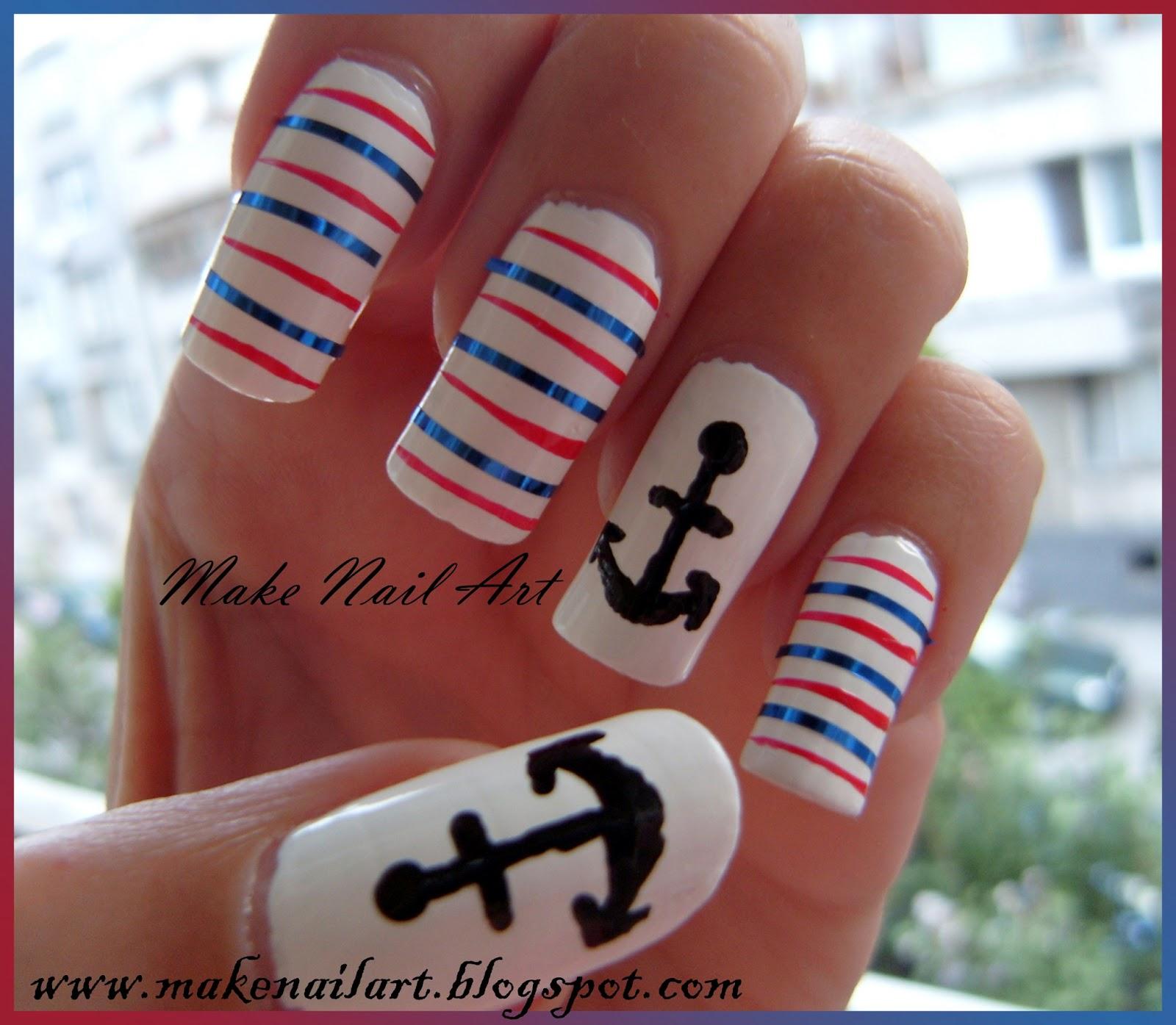 Make nail art may 2013 anchor nail art tutorial prinsesfo Choice Image
