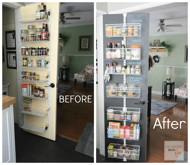 Before and After: Back of pantry door with updated chalkboard and organized :: OrganizingMadeFun.com