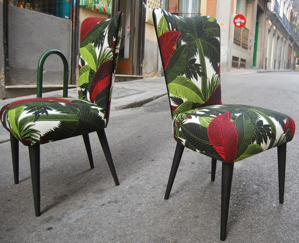 Sillas tapizadas con tela tropical la tapicera for Sillas con brazos tapizadas