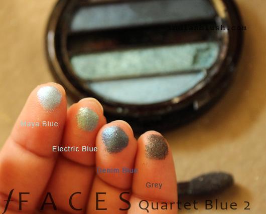 Faces I-Shine Eye Shadow Quartet Blue 2 shades