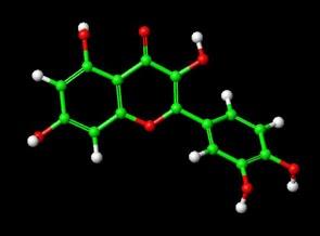üç boyutlu quercetin molekülü yapısı