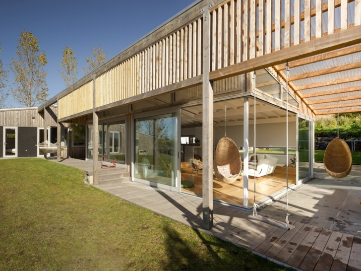 Wooden facade on Wooden house in New Zealand
