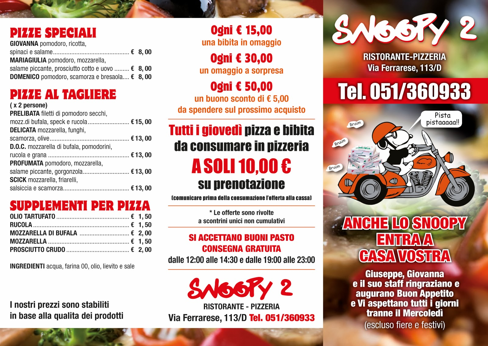 Favorito Pieghevoli Ristorante Pizzeria Snoopy 2 | SG COMMUNICATION  UQ04
