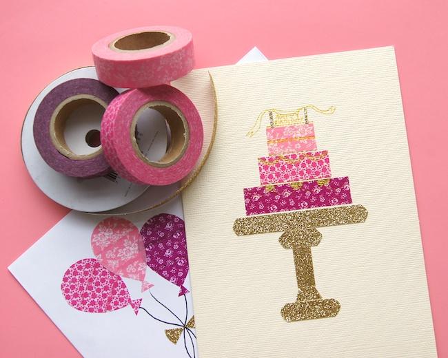 omiyage blogs send pretty mail   washi tape birthday card, Birthday card