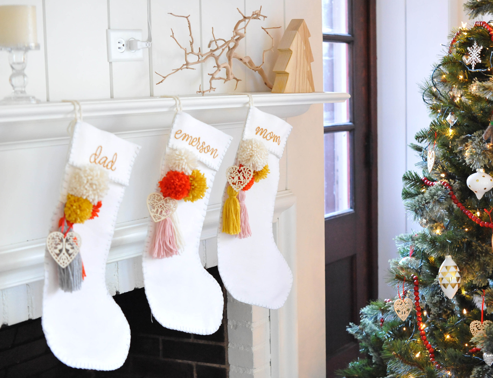 DIY Holiday Christmas Stocking Tassel u0026 Pom poms