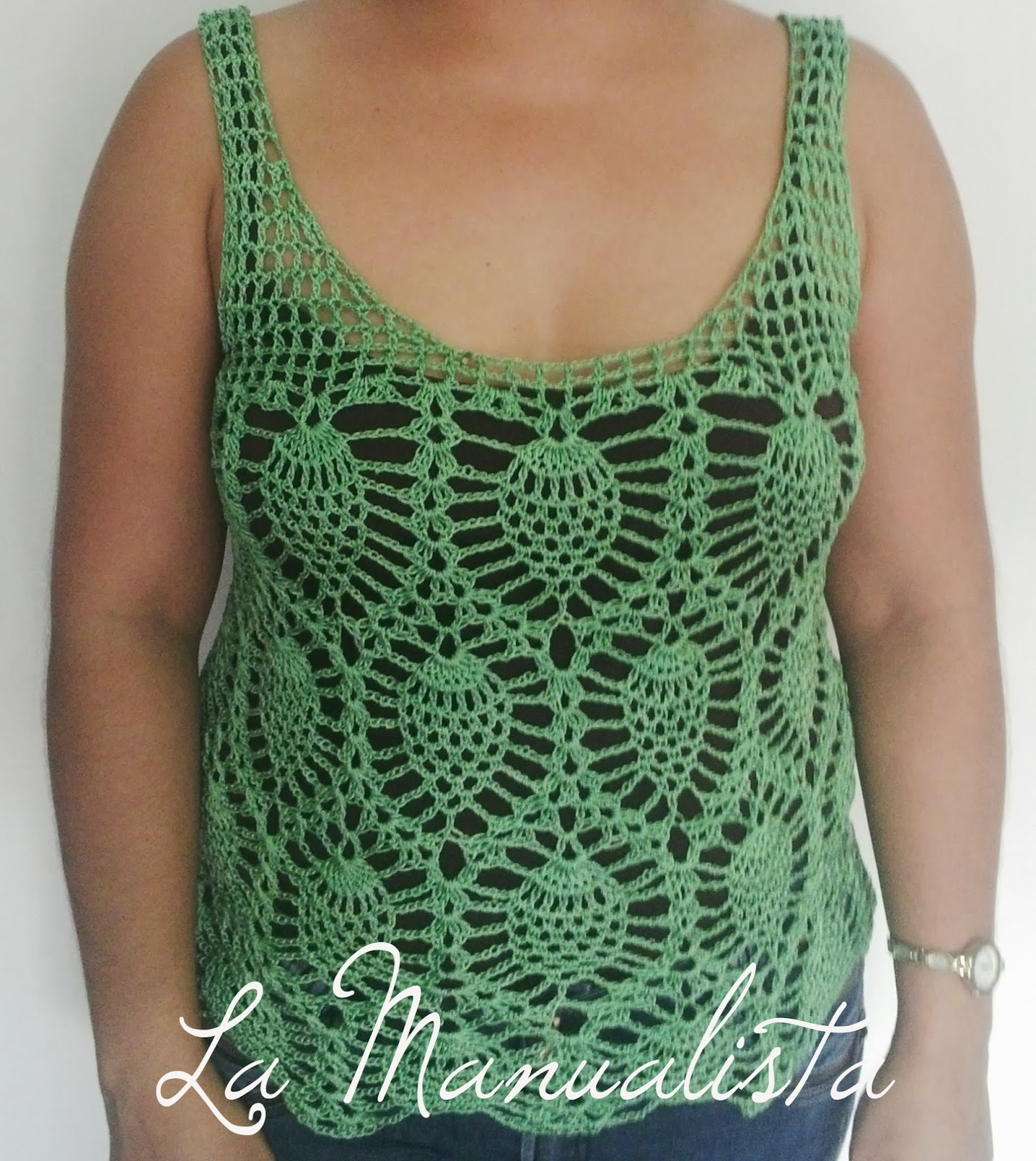 La manualista blusa crochet punto pi as o pi itas - Esquema punto estrella crochet ...