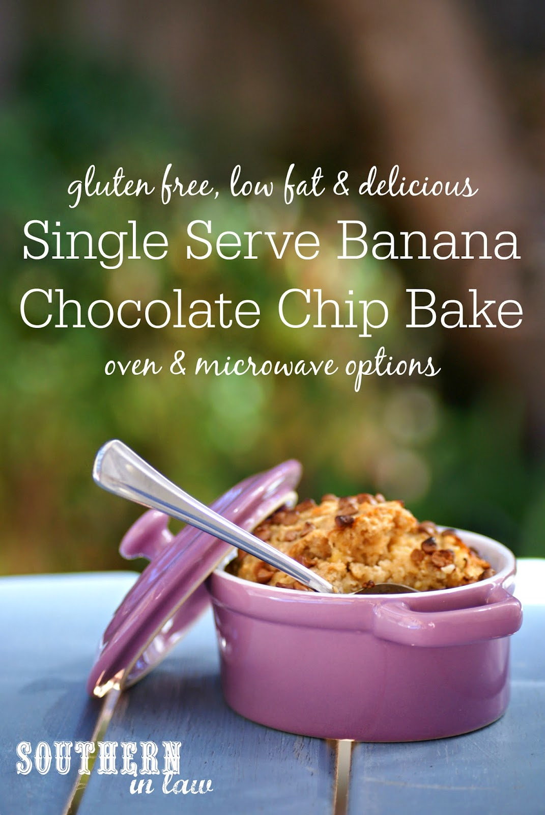 Single Serve Banana Chocolate Chip Bake - Oven or Microwave Recipe - Gluten free, healthy, low fat, sugar free