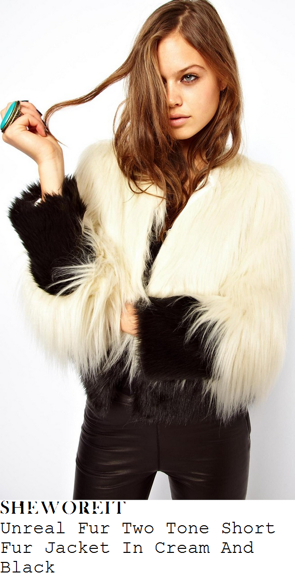 laura-whitmore-cream-and-black-faux-fur-jacket