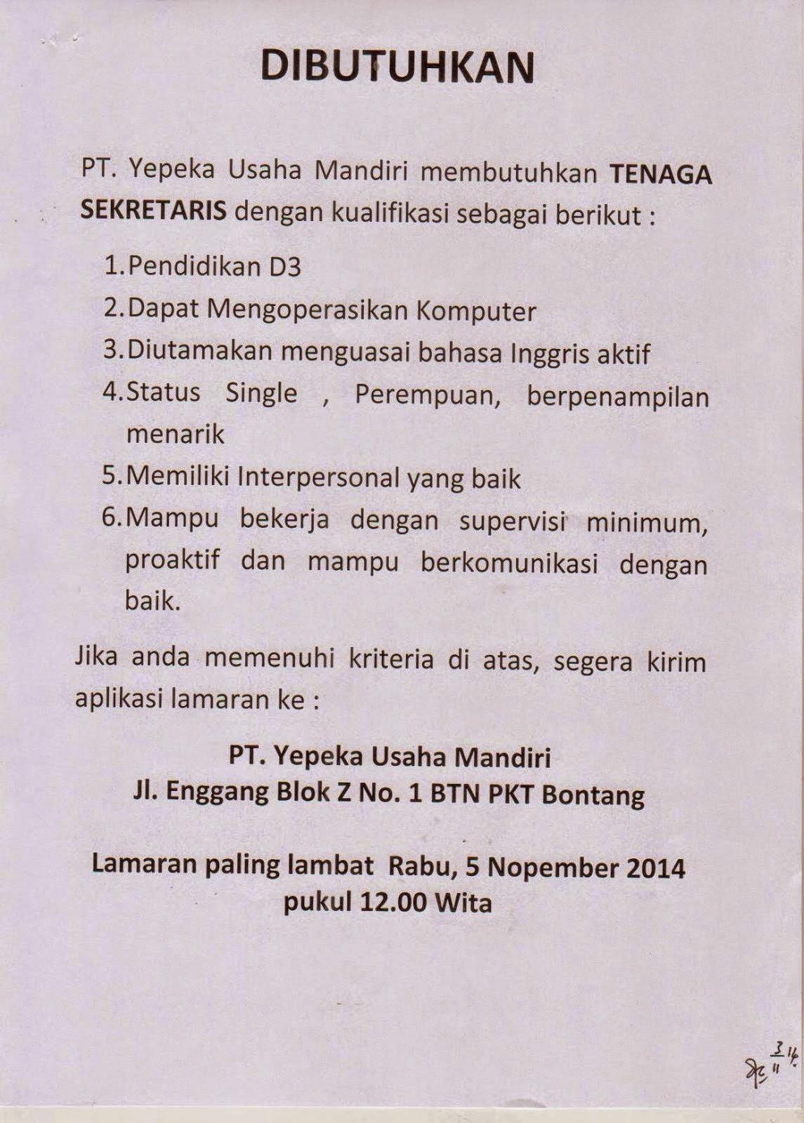 Lowongan Kerja Sekretaris D3 PT YUM Bontang