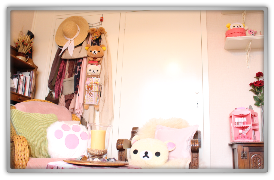 Marjolein kucmer rilakkuma pink cute etude house flowers room tour closet fashion decor clothes shoes colors