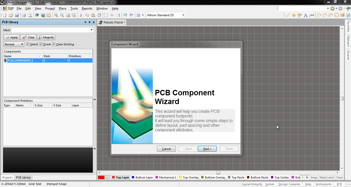 surface mount capacitor footprint using component wizard