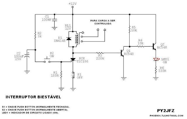 Circuito Com Scr Tic 106 : Circuitos eletrônicos circuito fácil de interruptor