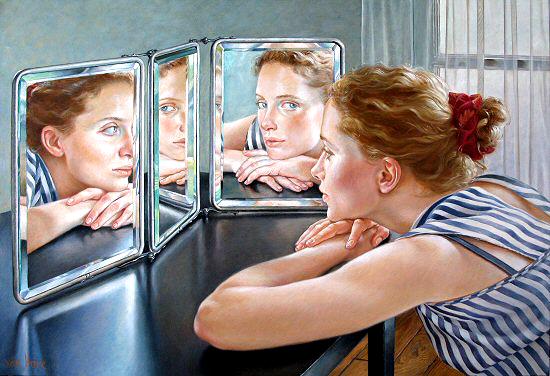 Cuadro de mujer mirándose a los espejos