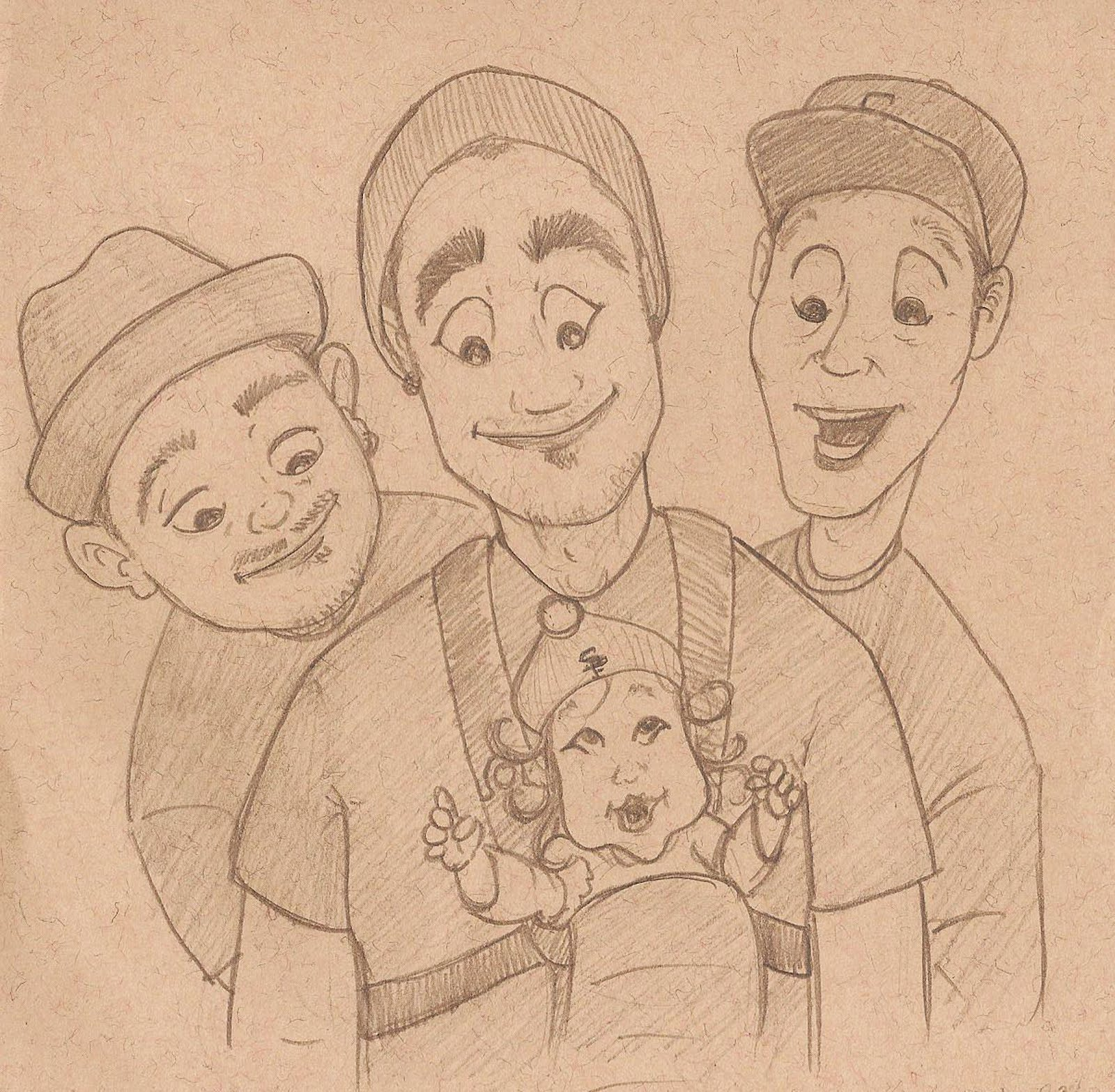 Doodle 238 Three Men And A Baby Hung Out With My New Goddaughter Simone Today Her Daddy Uncle Myan