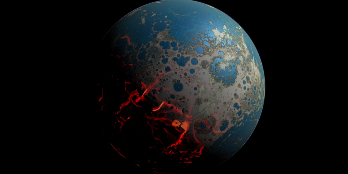 An artistic conception of the early Earth, showing a surface pummeled by large impact, resulting in extrusion of deep seated magma onto the surface. At the same time, distal portion of the surface could have retained liquid water. Image Credit: Simone Marchi