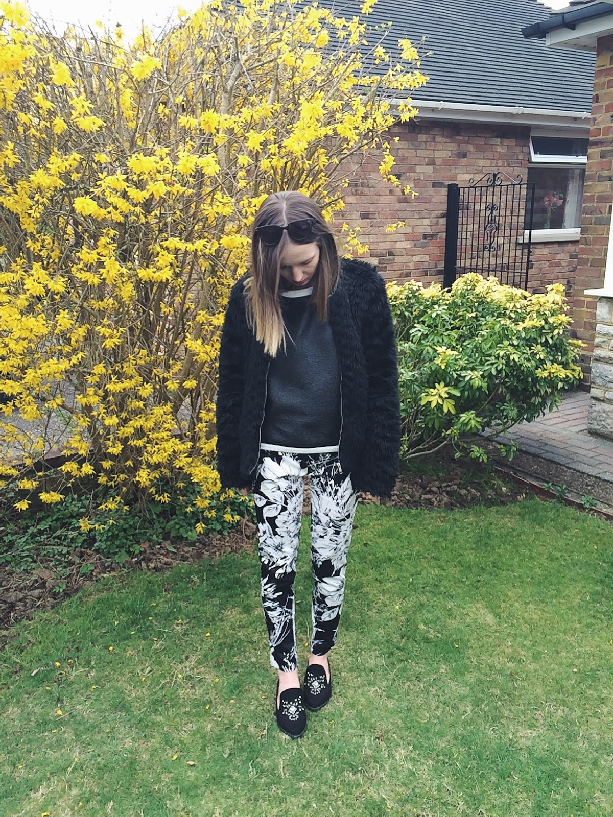 Primark Floral Print Cigarette Trousers, Next Embellished Loafers, M&S Limited Leather Jumper, Dorothy Perkins Faux Fur Coat