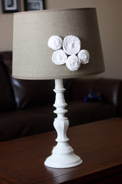 The yellow cape cod two dollar lamp makeover for Redo lamp shades