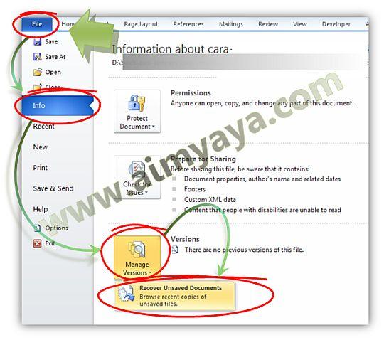 Gambar: Cara recover / mengembalikan file yang belum sempat di save