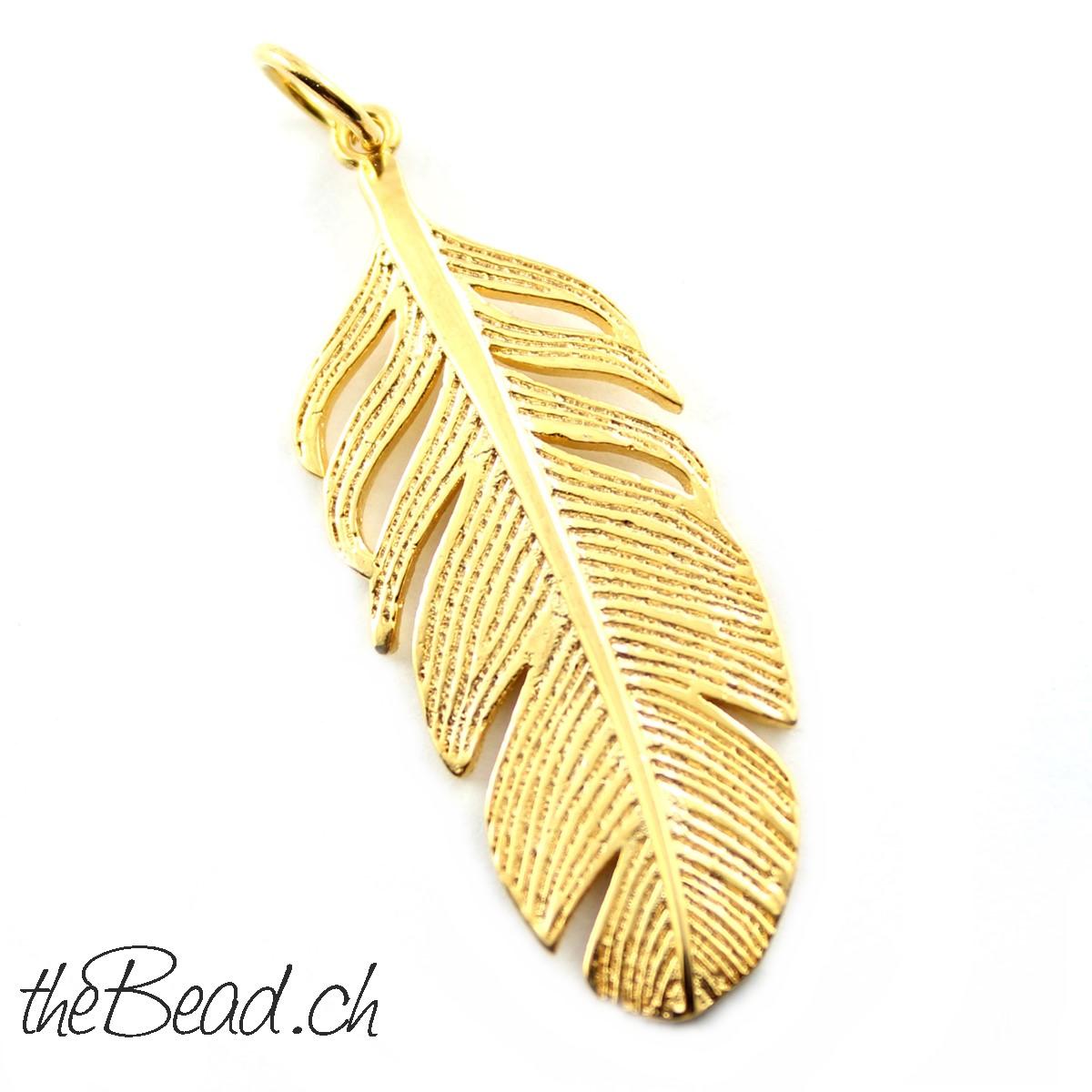 Federn aus 925 Sterling Silber vergoldet für Halsketten Schmuck von theBead