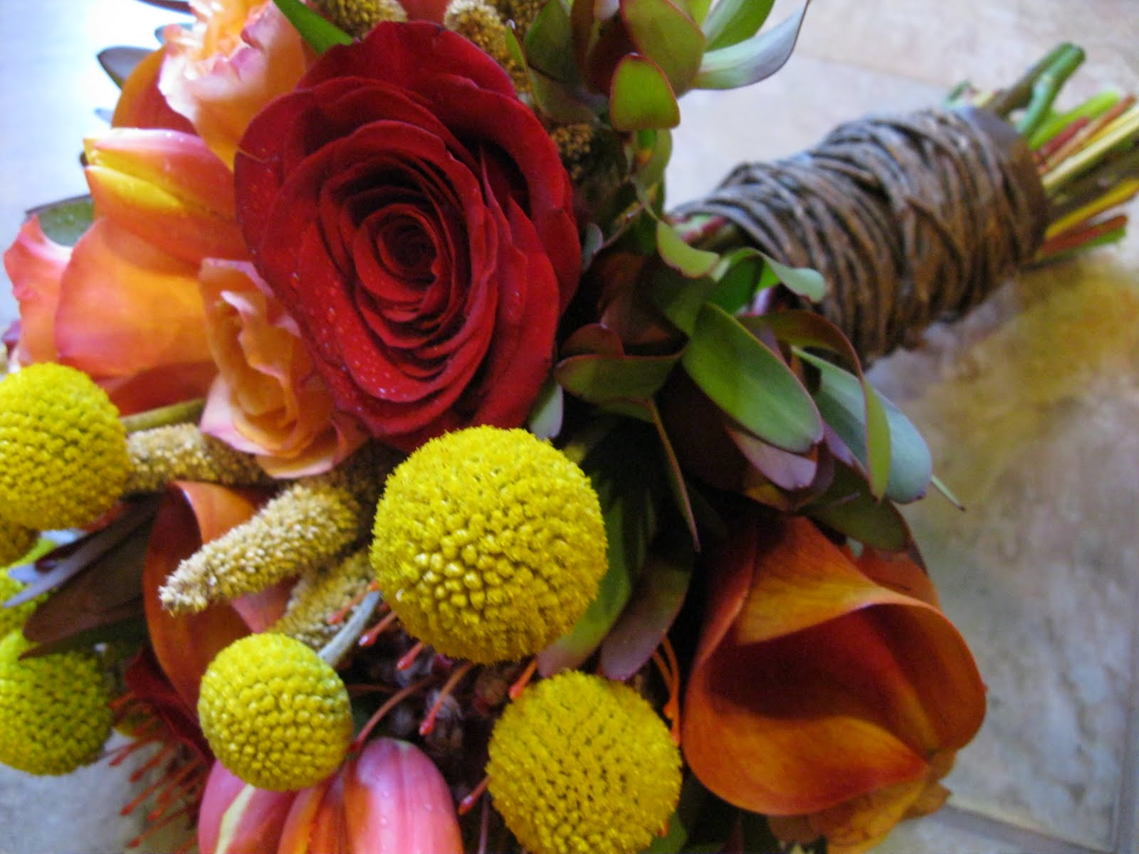Flowers by shirley garden rose bouquets - We Called This Large European Hand Tie Bouquet Rustic Chic It Is Made Of Melva And Freedom Roses Dutch Orange Red Tulips Leukedendron Orange Protea