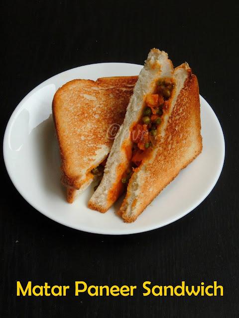 Paneer peas sandwich