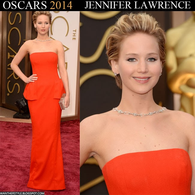 Jennifer Lawrence in red sleeveless Christian Dior peplum gown Want Her Style Oscars 2014