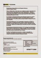 Telegrama enviado ao ministro Antonio Patriota