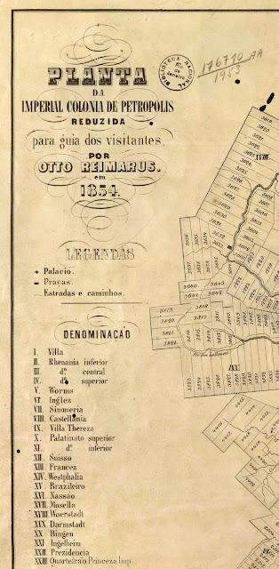 Detalhe da legenda da planta de Otto Reimarus para Petrópolis, RJ, em 1854