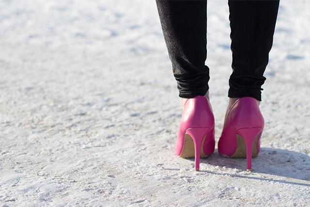 Magenta high-heels.