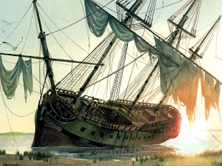 Blackbeard's pirate ship Queen Anne's Revenge ran aground at Beaufort Inlet, North Carolina and had to be abandoned