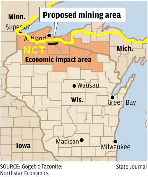 map of NCT in Wisconsin near iron deposits