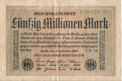 German 50 million mark banknote