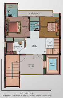 Oxford Square :: Floor Plans,Super Area 154 Sq. Yd. :-Third Floor 2 Bedroom + Study Room + Lobby + 2 Toilets + Terrace + Water Body