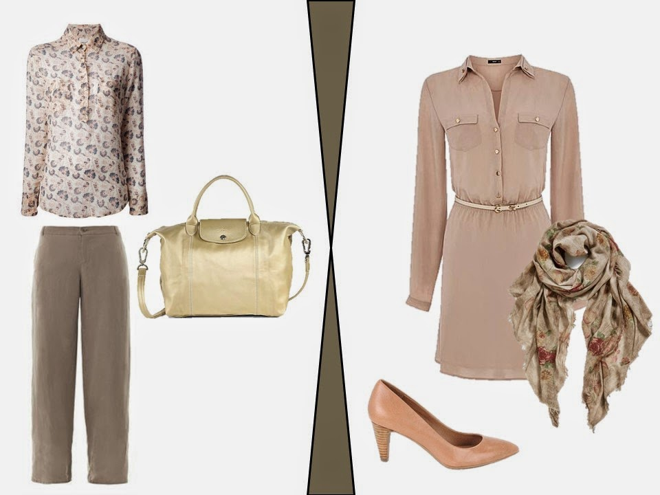two beige and taupe outfits inspired by a beige hotel room