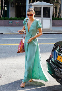 Miranda Kerr looked stunning in a floor lenght green dress