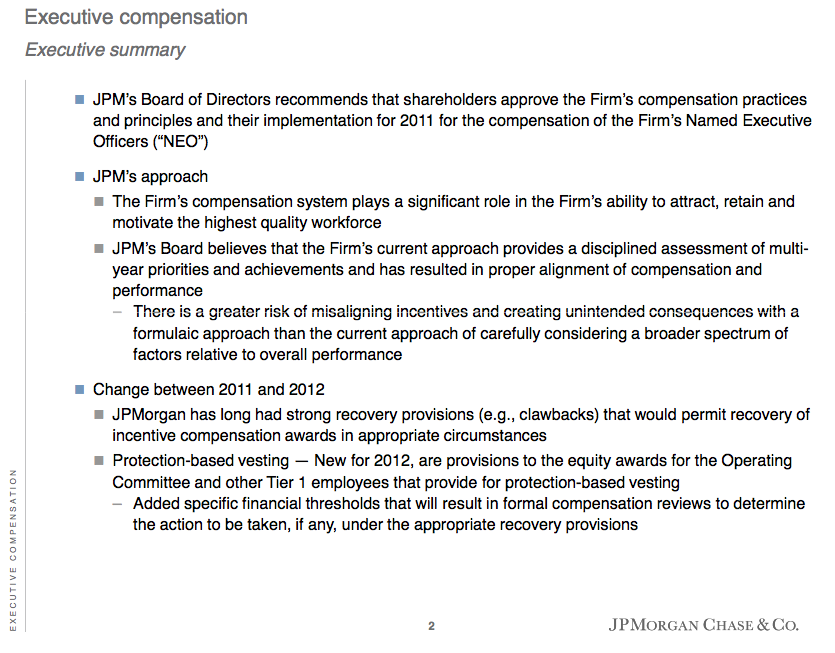 """Viable Opposition: James Dimon's Compensation Package - How the ... In light of recent news about JPM and its """"irregularities"""", one has to love the phrase """"The Firm's compensation system plays a significant role in the ..."""