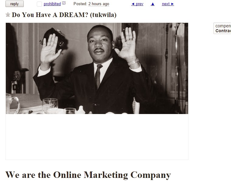 "Screenshot of a craigslist ad titled ""Do You Have A DREAM?"" with a picture of MLK below, and below that the word ""We are the Online Marketing Company"""
