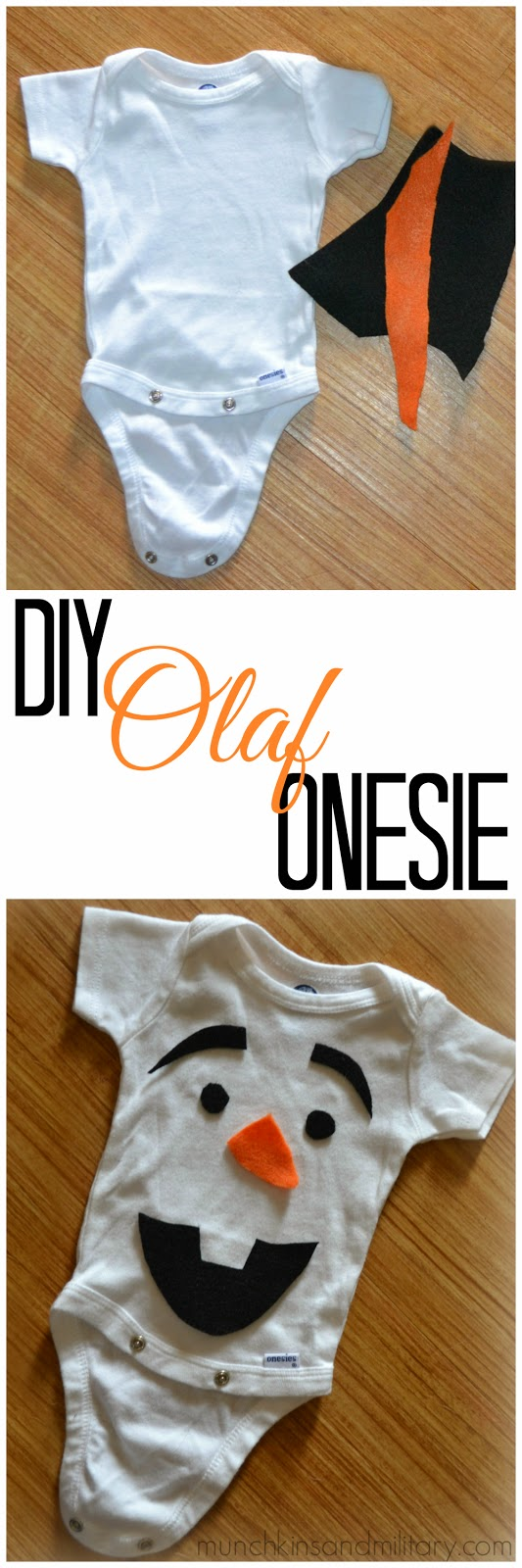 Pinable DIY Olaf onesie