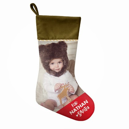 image Best Selling Timeless Whimsy Stocking shows Christmas stocking with bright red toe name on it and picure of toddler
