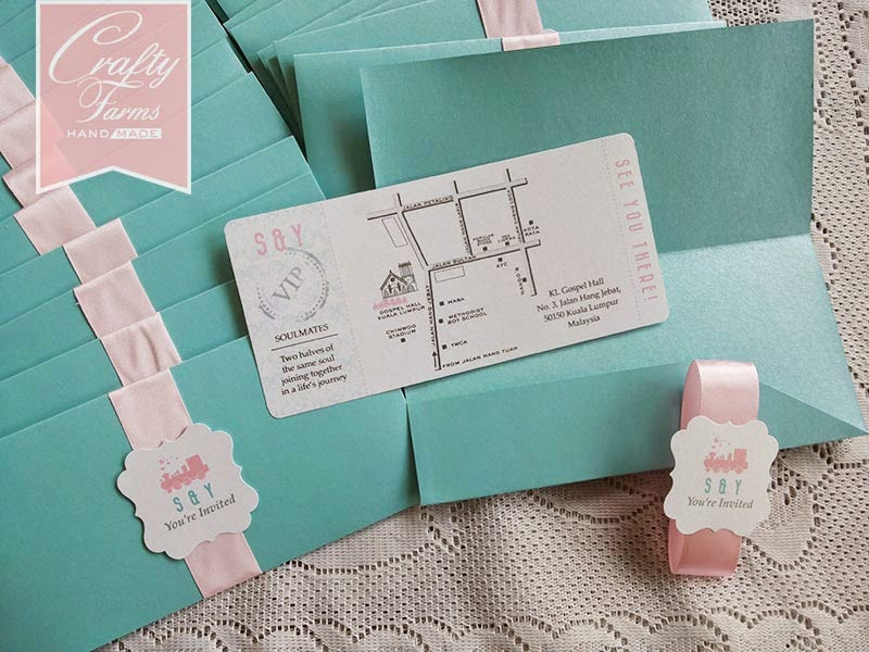 Handmade wedding card malaysia | pastel pink and turquoise colour