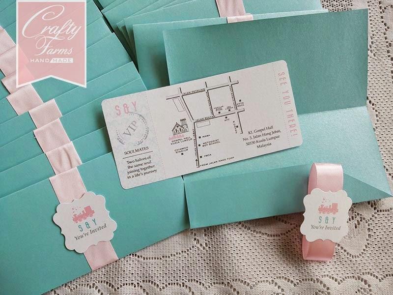 Wedding Card Malaysia | Crafty Farms Handmade : Pastel Train Ticket ...